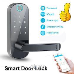 Bluetooth APP Fingerprint Card Password Smart Door Lock Home Security Keyless