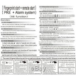 Car Engine Fingerprint Push Button Lock Keyless Entry Start Stop Ignition Remote