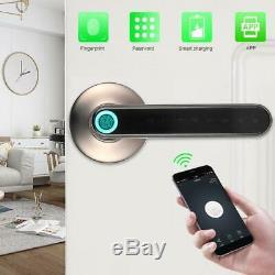 Electronic Smart Door Lock Handle Fingerprint Bluetooth Password APP Keyless USB