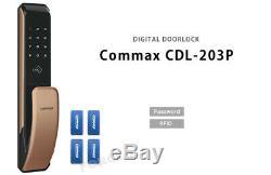 Keyless Lock COMMAX Push-Pull CDL-203P Smart Digital Doorlock Password+RFID Gold