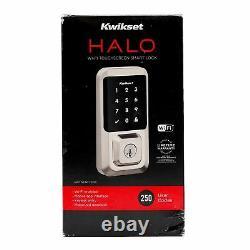 OPEN BOX Kwikset 99390-001 Halo Wi-Fi Keyless Entry Smart Lock in Satin Nickel