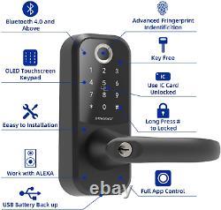 SMONET Smart Lock Fingerprint Door Lock with Reversible Handle Keyless Entry