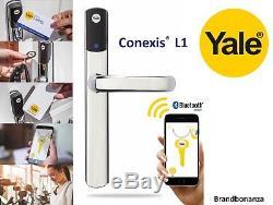 Yale Conexis L1 Smart Door Lock Chrome Security Handle Bluetooth Keyless Tag