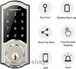2020 Newsmart De Verrouillage De Porte, Smonet Intelligent Clavier Bluetooth Sans Clé Serrure À Pêne Dormant