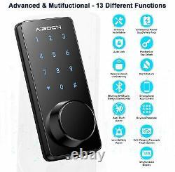 Aibocn Smart Deadbolt Door Lock Entrée Sans Clé Bluetooth Electronique App Voix Clé