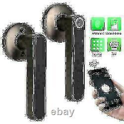 Electronic Smart Door Lock Handle Fingerprint Bluetooth Mot De Passe App Keyless Ss
