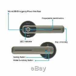 Empreintes Digitales Électrique Intelligent De Porte D'entrée Sans Clé De Verrouillage Biométrique Poignée D'argent Nouveau