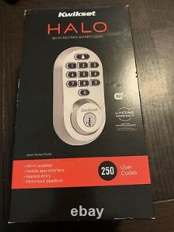 Kwikset Halo Wi-fi Smart Lock Keyless Entry Satin Finish Deadbolt 99380-001 Nouveau