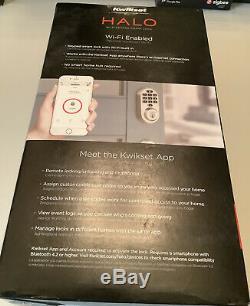 Kwikset Halo Wi-fi Smart Lock Sans Clé Satin Entrée Terminer Pêne Dormant 99380-001 Nouveau