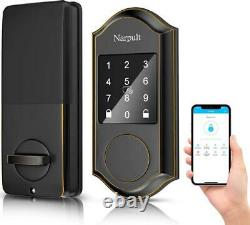 Narpult Smart Lock Deadbolt Électronique, Serrure De Porte D'entrée Sans Clé Avec Wi-fi Et