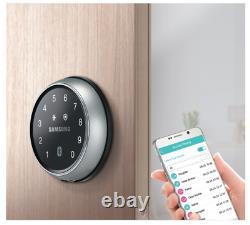 Samsung Smart Bluetooth Rim Lock Shp-ds705 Clé Moins Entrée, Noir Brillant Et Argent