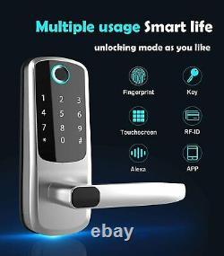 Serrure De Porte Intelligente Avec Entrée Sans Clé, Empreinte Digitale, Écran Tactile, Code D'accès Anti-peep