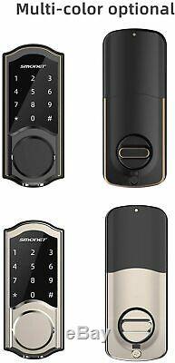 Smart Door Lock, Smonet Smart Clavier Bluetooth Sans Clé Serrure À Pêne Dormant À Écran Tactile